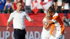 Laura Bassett is consoled by Jo Potter and Head Coach Mark Sampson.