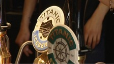 Pumps showing the beer on sale at a pub in Stoke