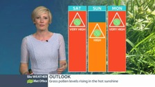 Expect very high pollen levels this weekend, dipping slightly on Sunday.