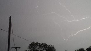 Lightning captured in the village of Croydon between Cambridge and Biggleswade.