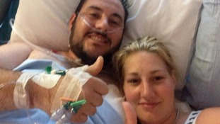 Saera Wilson posted this 'thumbs up' photo of Mathew in hospital back in Wales.