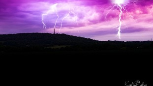 Lightning strikes Wellington monument in Somerset