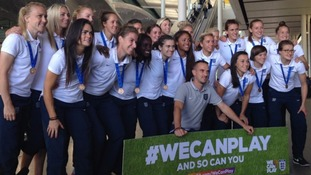 England's Women's World Cup team arrive home