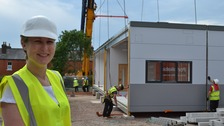Elspeth Lees, Head of Science, Natural Resources and Outdoor Studies, watching the installation.