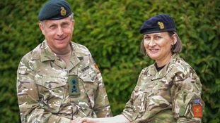 General Sir Nick Carter congratulates Brigadier Ridge on her new appointment.