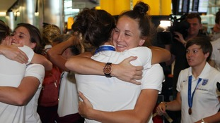 The Women's World Cup team return home after clinching bronze.