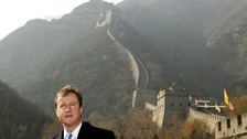 Britain's Prime Minister David Cameron visits the Great Wall