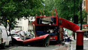 The aftermath of the Tavistock Square bomb