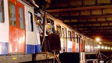 The bomb-devastated Aldgate train carriage