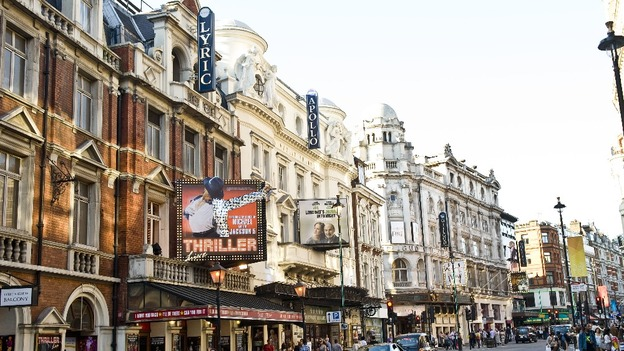 Theatres on Shaftesbury Avenue in London.