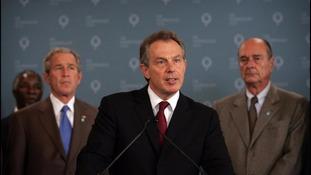 Tony Blair addresses the world's media following the attacks.