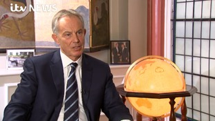 Tony Blair speaking to ITV News' Mark Austin.