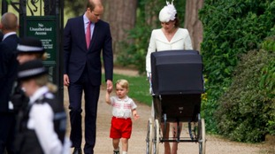 Prince George arrives for his sister's christening.