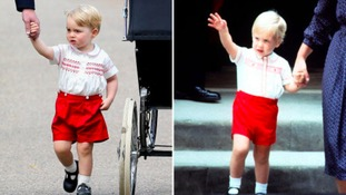 Prince George's outfit (left) was similar to the one worn by his father (right) in 1984.