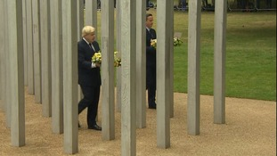 David Cameron and Boris Johnson lay wreaths at the Hyde Park 7/7 memorial.
