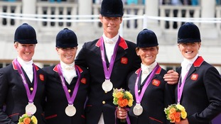 Nicola Wilson, Zara Phillips, William Fox-Pitt, Mary King and Kristina Cook with their silver medals