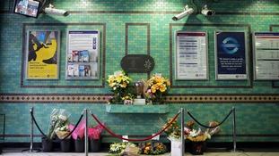 Family flowers left at Aldgate station