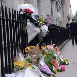 Flowers left outside Tavistock Square