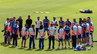 England Cricket players observe a minute's silence at the SWALEC Stadium in Cardiff