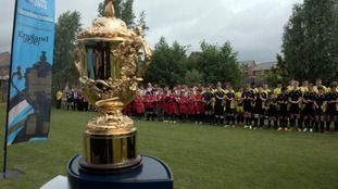 The Webb Ellis Trophy visits the West Country as part of the 100 day Rugby World Cup Trophy Tour