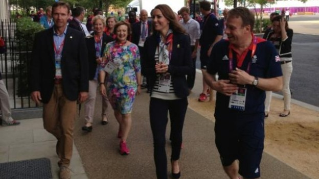 Lawrence Clarke tweets a picture of the Duchess of Cambridge arriving at the Olympic village 