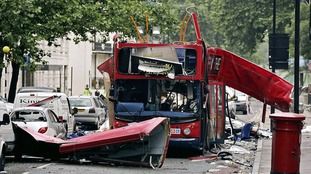 Tavistock Square, central London after the terror attack of July 7 2005