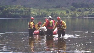 The fire service carrying out rescue exercises in Thirlmere.