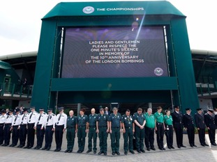 Wimbledon staff commemorating the 10th anniversary of the 7/7 attacks