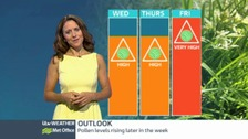 Pollen levels will rise towards the end of the weeks as warmer weather sets in.