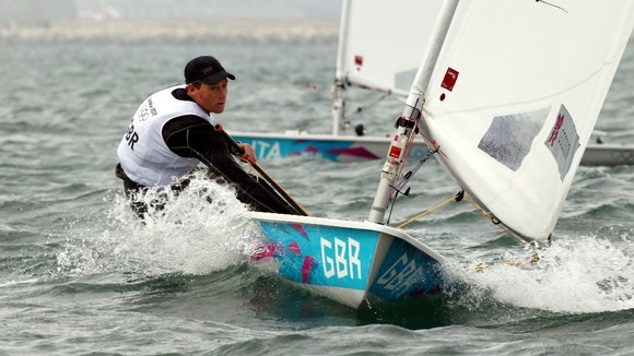 Great Britain's Paul Goodison during the fourth race in the Laser Olympic race series off Weymouth.