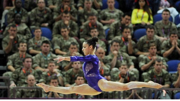 USA's Alexandra Raisman competes on the beam during the Artistic Gymnastics Team Qualification