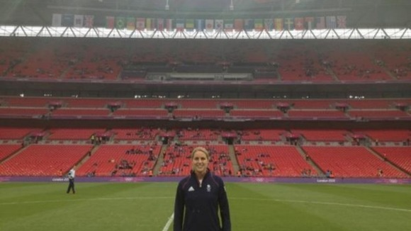 Team GB footballer Kelly Smith posted this photo of her at Wembley on Twitter