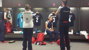 Team GB footballer Kelly Smith posted this photo of the England changing room at Wembley
