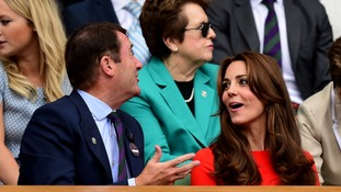 The Duchess of Cambridge chats with Chairman of the AELTC Philip Brook.
