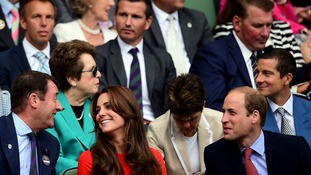 The Duke and Duchess of Cambridge chat with Chairman of the AELTC Philip Brook.