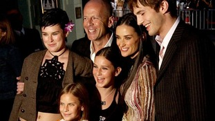 Demi Moore (2nd Right) with Bruce Willis (2nd left) and Rumer (left), Scout and Tallulah (front centre) and Ashton Kutcher (right).