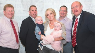 Lizzie Jones with twins Bobby and Phoebe at the RFL AGM