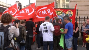 An RMT picket line outside Paddington Station.