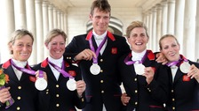 Mary King, Nicola Wilson, William Fox-Pitt, Tina Cook and Zara Phillips celebrate with their Silver medals