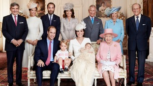 Members of the Royal Family and the Middleton family at Sandringham House after Princess Charlotte's christening