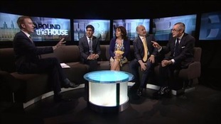 Paul Brand and guests (l-r): Conservative Rishi Sunak, Julie Elliott (Labour) the SNP's Calum Kerr and Lord Purvis of Tweed (Lib Dem)