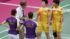 Tournament referee Torsten Berg warns players from China and South Korea.