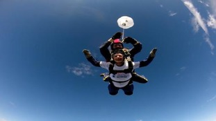 Stephen's mother Jane skydiving over Lincolnshire