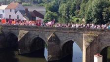 The Gala procession heading across Elvet Bridge last year.
