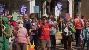 People protest in Frome against bus cuts