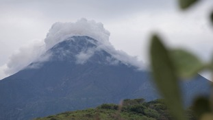 Smoke rises from Colima Volcano, also known as the Volcano of Fire, near the town of Comala