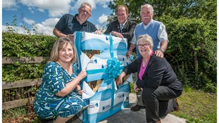 Programme Director for Digital Scotland – Liz Mallinson, Barrie Sweenie from Openreach, Mid-Berwickshire Ward Members – councillors Donald Moffat, John Greenwell and Frances Renton welcome broadband to Leitholm.