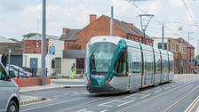 Tram testing in Chilwell in May