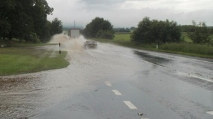 Flooding on the section of the A66 where work is taking place to improve drainage