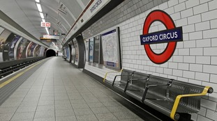 Oxford Circus tube station empty